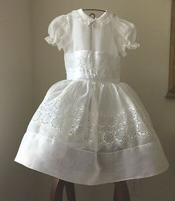 Small Girl's Vintage White Organdy Dress Embroidered Design Lace Trim