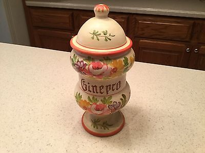 Vintage Ginepro Hand Painted Apothecary Jar Canister Floral Design Nice
