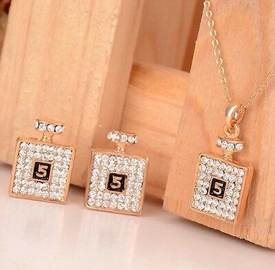 Fashion Charm Crystal Statement Chain Earrings SetJewelry Perfume Botle Necklace