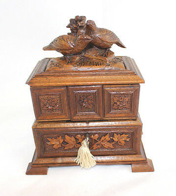 Antique Black Forest Jewelry Box Carved Gamebirds and Leaves