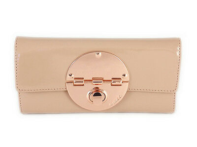Mimco foundation with rose gold hardware Large turnlock leather wallet