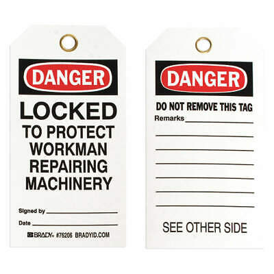 BRADY Polyester Danger Tag,5-3/4 x 3 In,ISO 9001,PK25, 76206