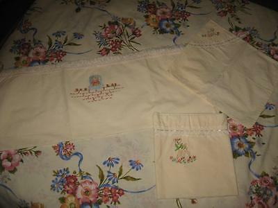 Vintage Embroidered Baby Bassinette Sheets x 2 & Pillowcase-Kitten, Bambi