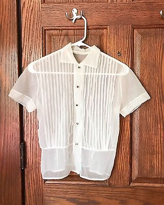 Vtg 50s Nylon Blouse Sheer Pleated Small 60s Button Up Collar