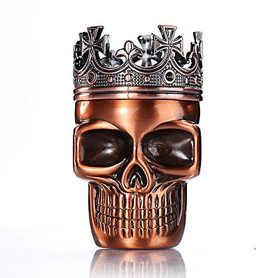 Crowned King Metal Skull Herb Spice Pollen Grinder--Red Bronze - Free Shipping
