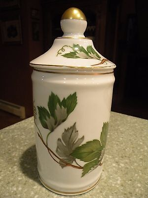 Antique Porcelain Apothecary Pharmacy Pot Jar Canister Made in France, Leaves
