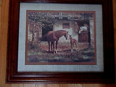 Home Interior Vintage picture of family of Horses Mare colt and Papa Horse