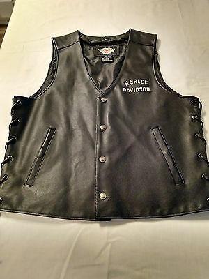Harley Davidson Leather Motorcycle Vest Classic Lace Up Sides Embroidered Large