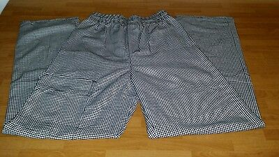 "New Black & White Houndstooth CHEF PANTS  Size Small NICE - ""UNCOMMON THREADS"""