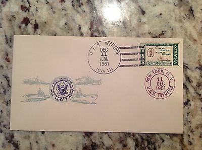Navy FDC First Day Cover: 1961 USS Intrepid CVA 11 Essex Class Aircraft Carrier