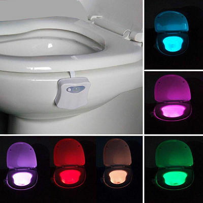 8-Color LED Motion Activated Toilet Night Light Seat Nightlight Sensor Lamp Home