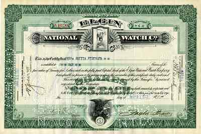 1927 Elgin National Watch Co Stock Certificate