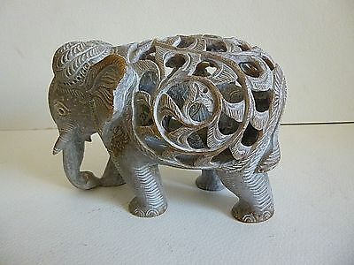 """Indian Hand Carved Soap Stone Elephant With Baby Inside Large Figurine 6"""" X 4"""""""