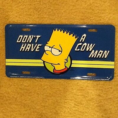 "Bart Simpson The Simpsons ""dont Have A Cow Man"" Embossed License Plate"