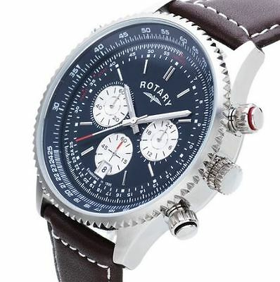 Rotary Men's GS03642/05 Chronograph Swiss Brown Leather Strap Watch - NEW