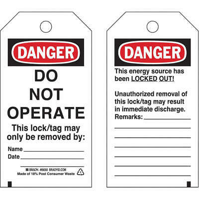 BRADY Polyester Danger Tag,5-1/2 x 3 In,Hd Polyest,PK25, 65502