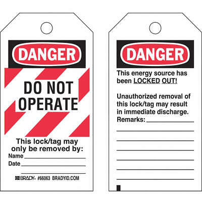 BRADY Polyester Danger Tag,5-1/2 x 3 In,Hd Polyest,PK25, 65520