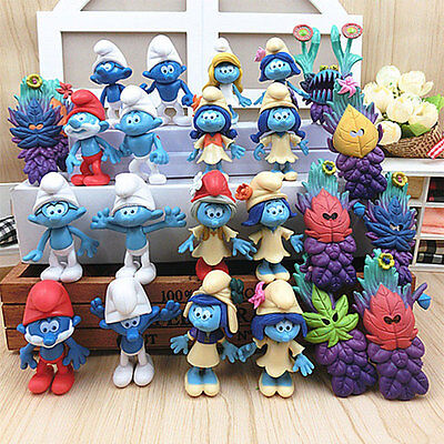 24pcs Smurfs The lost Village Papa Smurfette Clumsy Action Figures Play Set