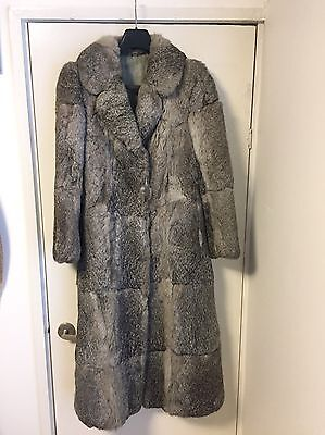 Rare Vintage Coney Rabbit Grey Fur Long Coat Size 8