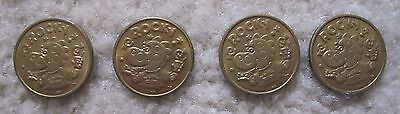 Lot of 4 Coins Old Peter Piper Pizza Arcade Tokens Rocky the Dinosaur Circulated