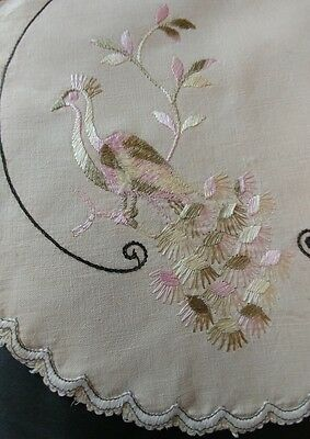 "Vintage Silk Society Embroidery Peacock On Beige Linen Doily 12"" (#33)"