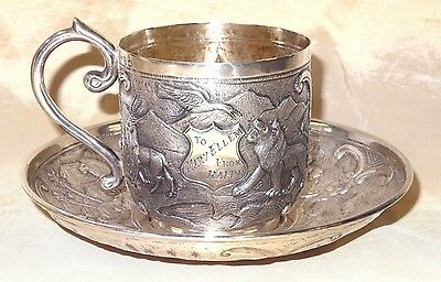 Antique India Indian Colonial Sterling Silver Tea Cup Saucer J Manikrai & Sons