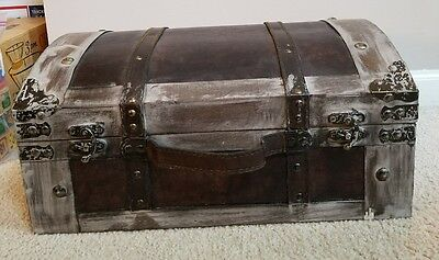 Decorative Wood Trunk Large Storage Box Rustic w/ Leather accents NEW Domed Top