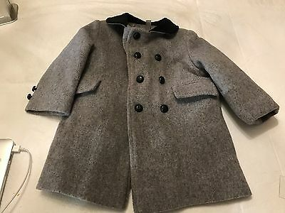 Vintage Fieldston Clothes Boy's Gray Wool Dress Coat w Velvet Collar Size 4