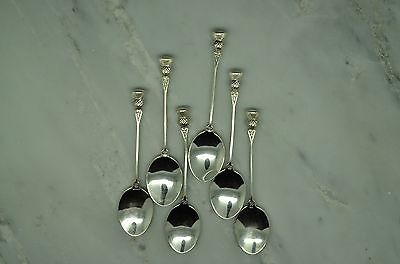 Set Of 6 Antique 925 Sterling Silver Demitasse Spoons 3 1/4 Inches