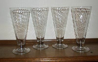 Cristal D' Arques-Durand Clear Optic Swirl Pilsner Glasses - Set of 4 - France