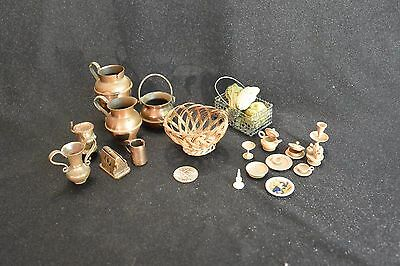 Mixed Lot Dollhouse Items: Copper, Ceramic, Wicker, Wooden Turnings; 25 pieces