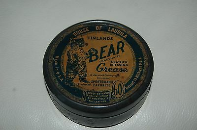 Vintage 1930's House of Laurila Finland's Bear Grease Tin, Sportsman's Favorite