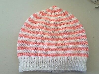 Baby Girl Beanie  - Hand Knitted - White and Pink Stripes - 6 - 12 mths