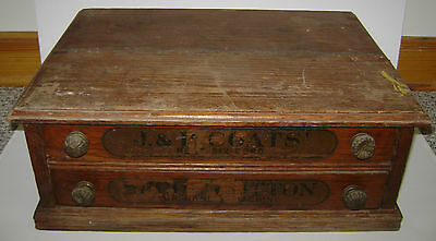 Vintage J & P Coats 2 Drawer Spool Thread Display Cabinet Sewing Chest