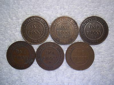 Australia 1911 1914 1915 1918 1919 1920 Penny Old World bronze (lot of 6) shown