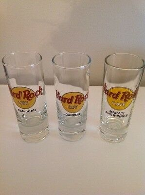 Hard Rock Cafe Shot Glass - Makati Philippines, San Juan and Cancun - 3 glasses