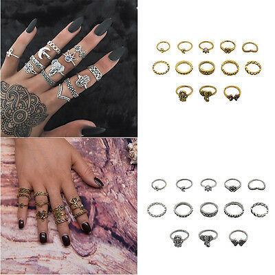 7/10/13X/Set Gothic Retro Antique Women Popular Silver Bronze Midi Finger Rings