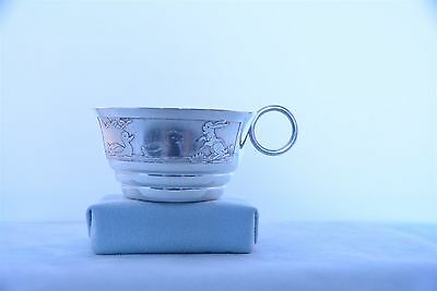 """Antique French Silver Plate 1-5/8"""" x 3"""" Baby Cup Animal Engraving No Monogram"""