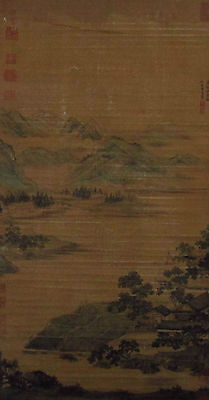 Chinese scroll Landscape painting reclusive fisherman hang scroll marked Qiuying