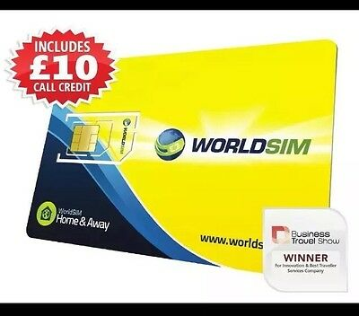 World Sim PrePaid International SIM Card, STD/Micro/Nano Size, Inc £10 Credit