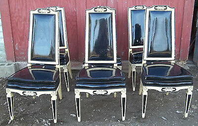 Set Of 6 Mid Century Upholstered Classical Regency Painted Dining Chairs