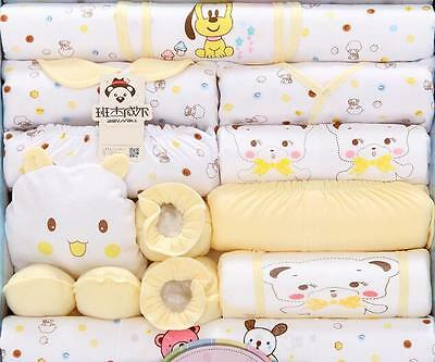 18pcs Yellow Newborn Baby Boy Girl Outfits Cotton Infant Clothes Sets accesories
