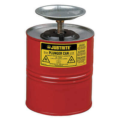 JUSTRITE Plunger Can,1 Gal.,Galvanized Steel,Red, 10308