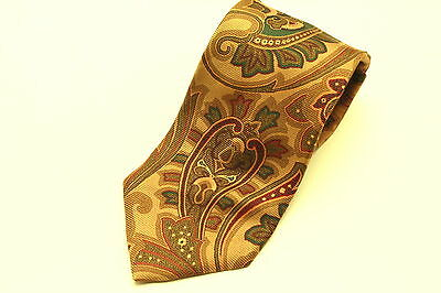 Brooks Brothers Paisley Tie Necktie Gold Green Red Woven Silk Made In Usa