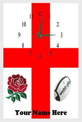 ENGLAND Rugby FLAG  Wall clock  name added free