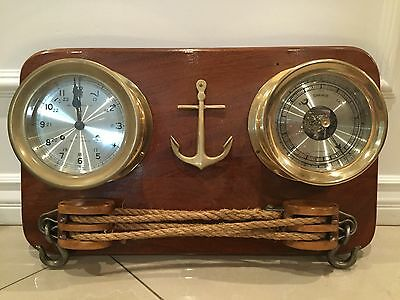 Antique Chelsea Bell Ship Clock Barometer Mounted Wood Nautical Thermometer Gold