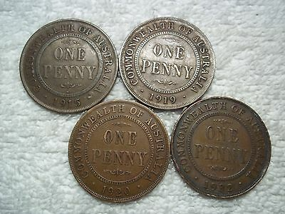Australia 1915 1919 1920 1932 Penny Old World bronze coins (lot of 4) shown