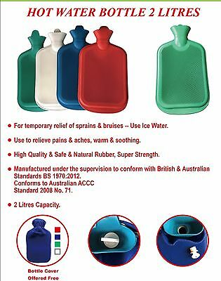 2L Hot Water Bottle Warmer Heat Soft Natural Rubber with Cover
