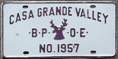 Arizona Casa Grande Valley BPOE Elks Lodge #1957 1960s BOOSTER  license plate