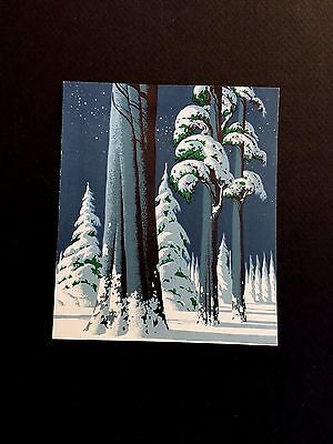 #278 Winter Forest by Eyvind Earle Vintage Xmas Greeting Card, Stunning Beauty